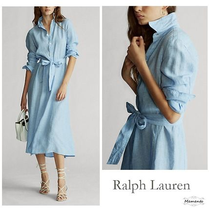 Casual Style Linen Plain Medium Long Shirt Dresses