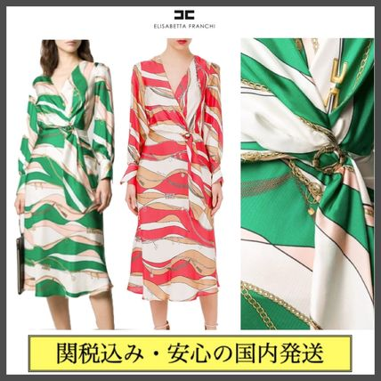 Wrap Dresses Casual Style Silk Flared V-Neck Bi-color