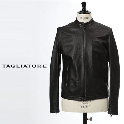 Short Plain Leather Biker Jackets