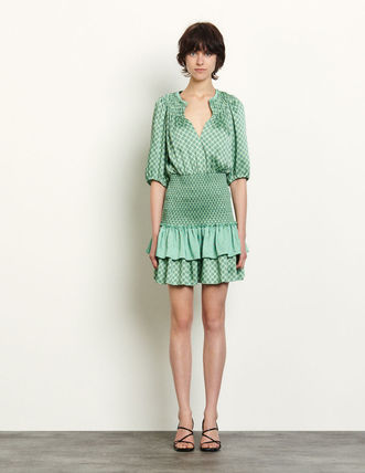 Short Party Style Office Style Elegant Style Puff Sleeves