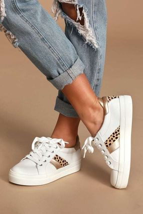 Casual Style Faux Fur Low-Top Sneakers