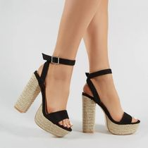 PUBLIC DESIRE Open Toe Casual Style Plain Block Heels Heeled Sandals