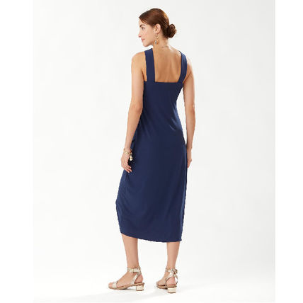 Casual Style Sleeveless Halter Neck Plain Long Party Style