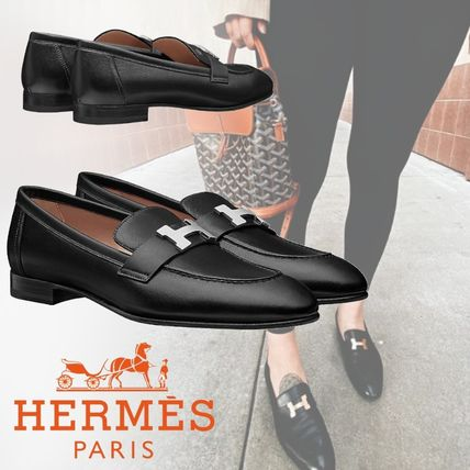 HERMES Paris Casual Style Plain Leather Office Style Formal Style