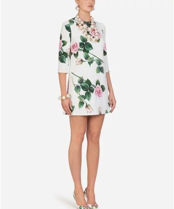 Dolce & Gabbana Short Flower Patterns Casual Style Long Sleeves Party Style