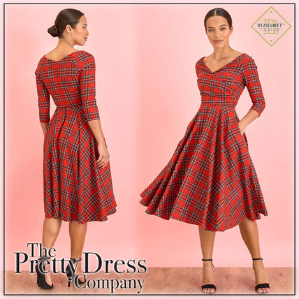 Wrap Dresses Tartan Casual Style A-line Flared V-Neck