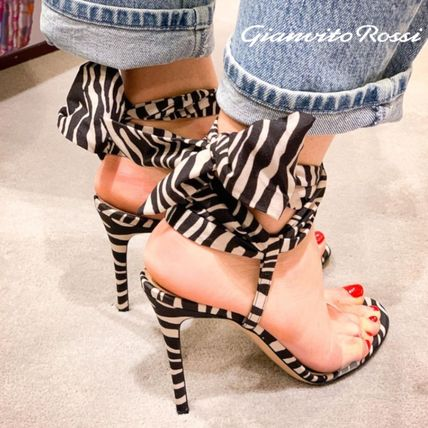 Zebra Patterns Open Toe Lace-up Casual Style Suede