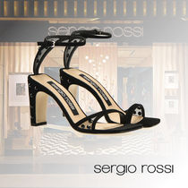 Sergio Rossi Open Toe Casual Style Plain Leather Block Heels Party Style