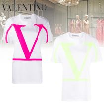 VALENTINO Bi-color Plain Cotton Short Sleeves Oversized Logo T-Shirts
