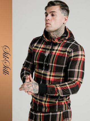 Other Plaid Patterns Street Style Long Sleeves Logo Hoodies