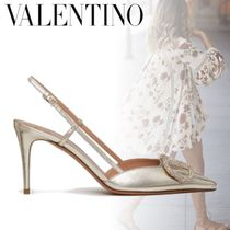 VALENTINO VLOGO Casual Style Plain Leather Pin Heels With Jewels