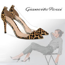 Gianvito Rossi Leopard Patterns Blended Fabrics Leather Pin Heels