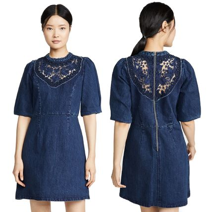 Short Flower Patterns Casual Style A-line Denim Flared