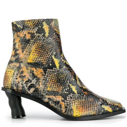Square Toe Leather Block Heels Python Logo
