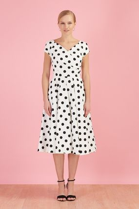 Wrap Dresses Dots Casual Style A-line Flared V-Neck Cotton