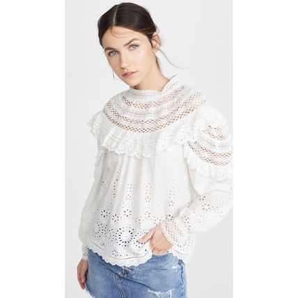 Short Flower Patterns Lace-up Casual Style Long Sleeves
