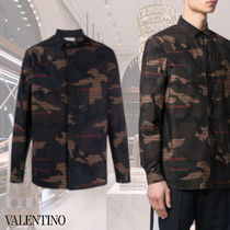 VALENTINO Camouflage Street Style Long Sleeves Cotton Military Shirts