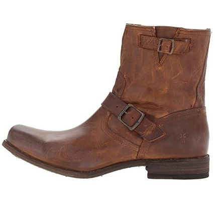 Plain Leather Engineer Boots