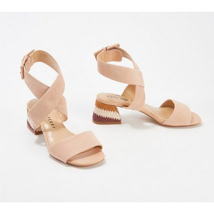 Open Toe Casual Style Plain Party Style Chunky Heels Sandals