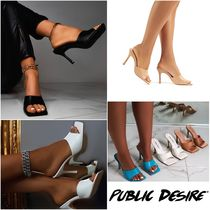 PUBLIC DESIRE Square Toe Pin Heels Party Style Elegant Style Mules