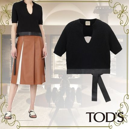 Short Plain Leather Cotton Short Sleeves Party Style