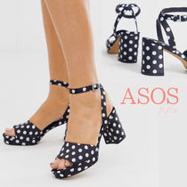 ASOS Dots Open Toe Platform Casual Style Chunky Heels