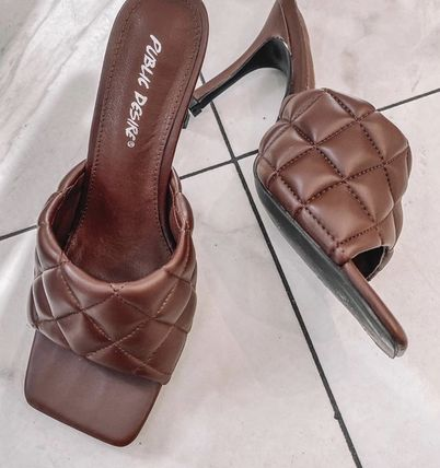 Square Toe Pin Heels Party Style Elegant Style Mules