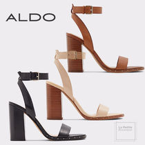 ALDO Open Toe Round Toe Casual Style Studded Plain Leather