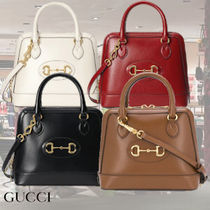 GUCCI Casual Style 2WAY Plain Leather Party Style Elegant Style