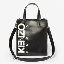 KENZO Casual Style Unisex Street Style Leather Totes
