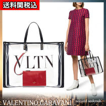 VALENTINO VLTN Casual Style Calfskin Street Style A4 Leather PVC Clothing