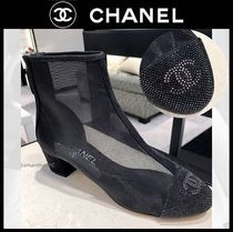 CHANEL ICON Plain Toe Casual Style Plain Block Heels Party Style