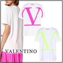 VALENTINO Cotton Short Sleeves Logo Neon Color T-Shirts