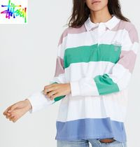 STUSSY Stripes Casual Style Long Sleeves Cotton Logo T-Shirt Polos
