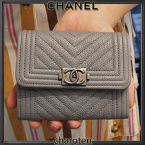 CHANEL BOY CHANEL Unisex Calfskin Plain Leather Folding Wallet Small Wallet
