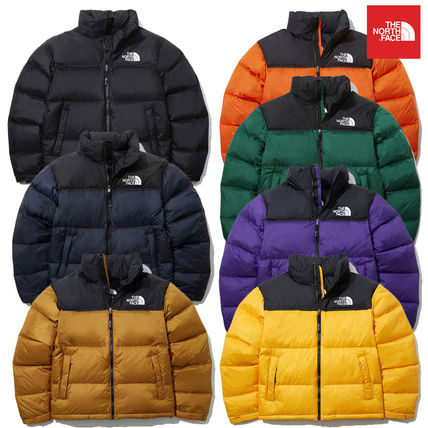 THE NORTH FACE Nuptse Short Unisex Street Style Logo Down Jackets