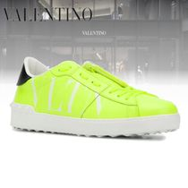 VALENTINO Street Style Leather Logo Neon Color Sneakers