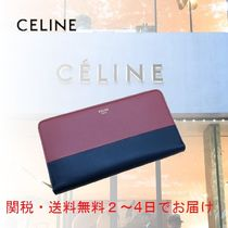 CELINE Zipped Unisex Calfskin Bi-color Plain Leather Long Wallet  Bridal
