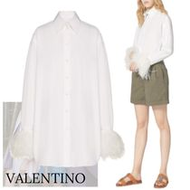 VALENTINO Casual Style Long Sleeves Plain Cotton Medium Party Style