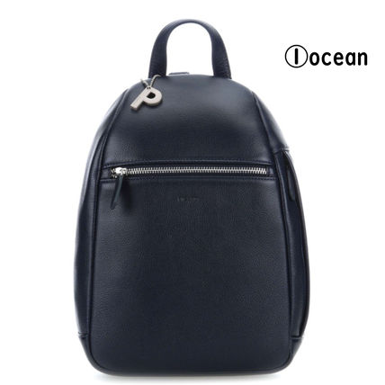 Casual Style Plain Leather Office Style Logo Backpacks