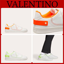 VALENTINO Street Style Bi-color Plain Leather Logo Neon Color Sneakers
