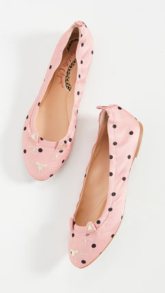 Dots Rubber Sole Plain Other Animal Patterns Flats