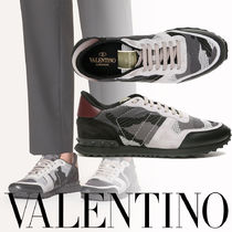 VALENTINO Camouflage Street Style Logo Sneakers