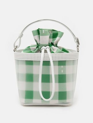 Gingham Casual Style Blended Fabrics Street Style