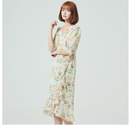 Wrap Dresses Flower Patterns Casual Style A-line Flared