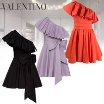 VALENTINO Short Casual Style Flared Plain Cotton Party Style