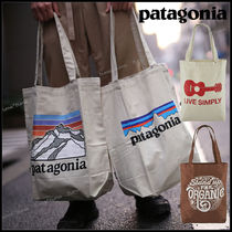 Patagonia Casual Style Unisex Street Style Logo Totes