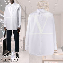 VALENTINO Long Sleeves Plain Cotton Logo Front Button Shirts