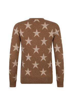 Crew Neck Star Casual Style Wool Cashmere Long Sleeves