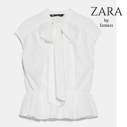 ZARA Casual Style Sleeveless Plain Cotton Medium Office Style